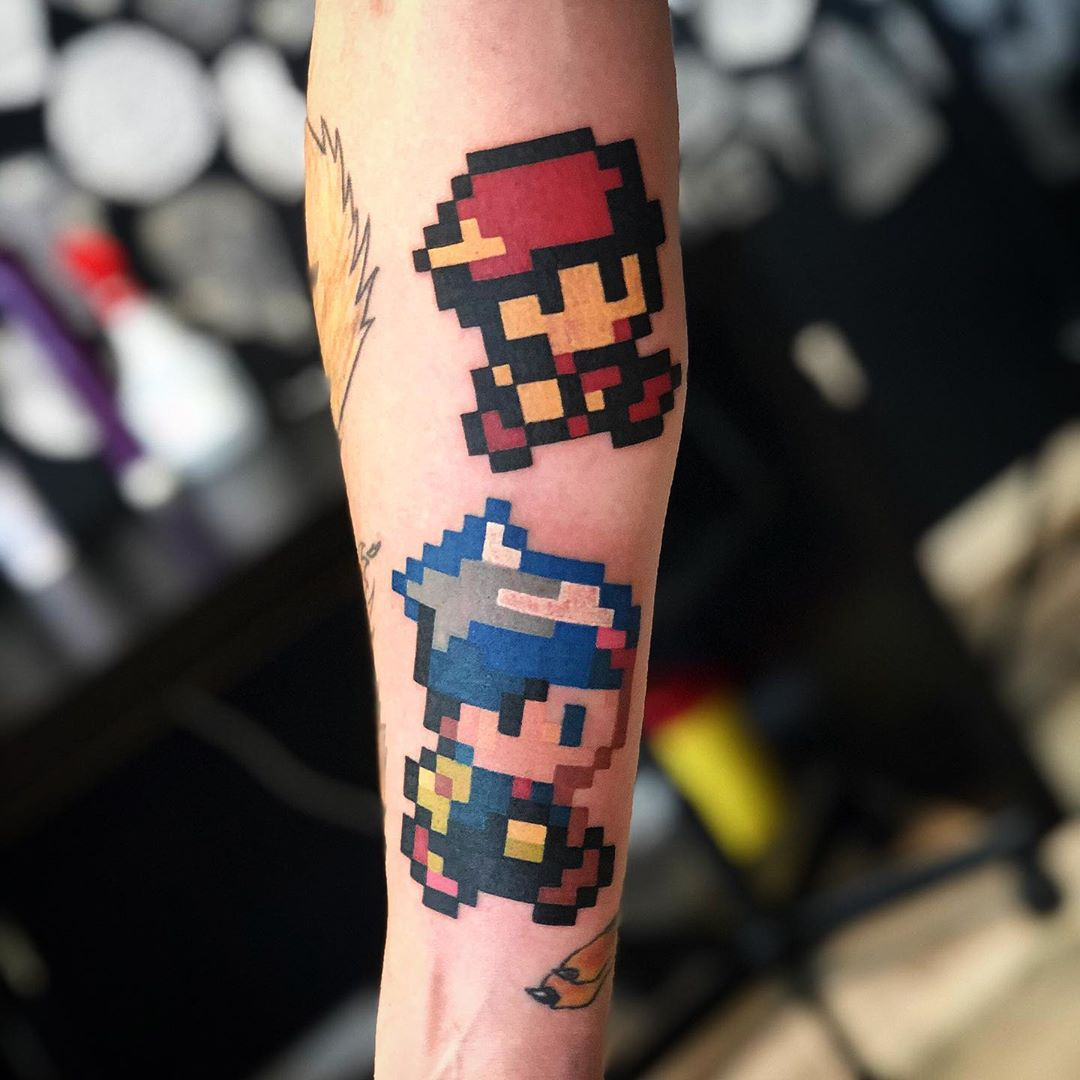 8bit tattoo style mario