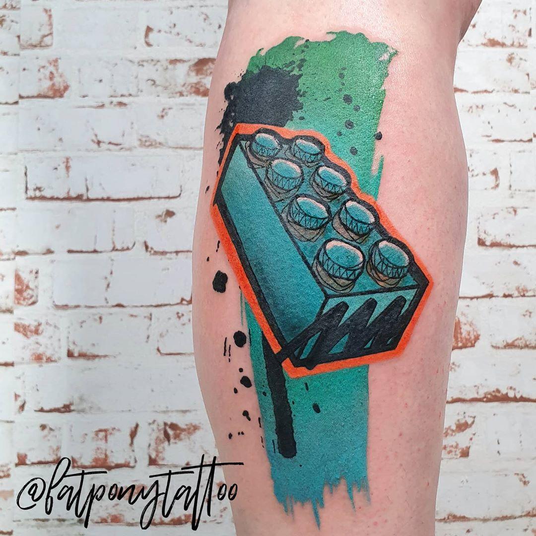 lego tattoo graffiti brick