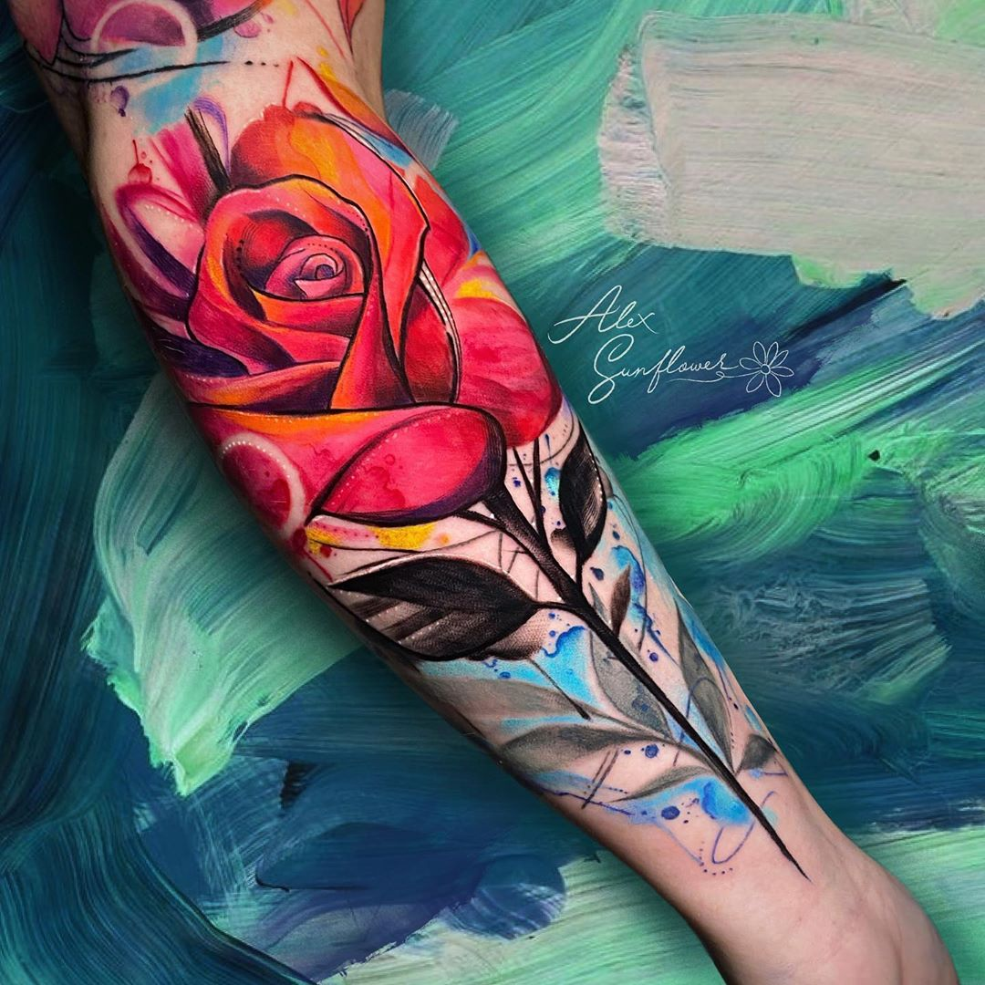 watercolor-tattoo-style-red-rose