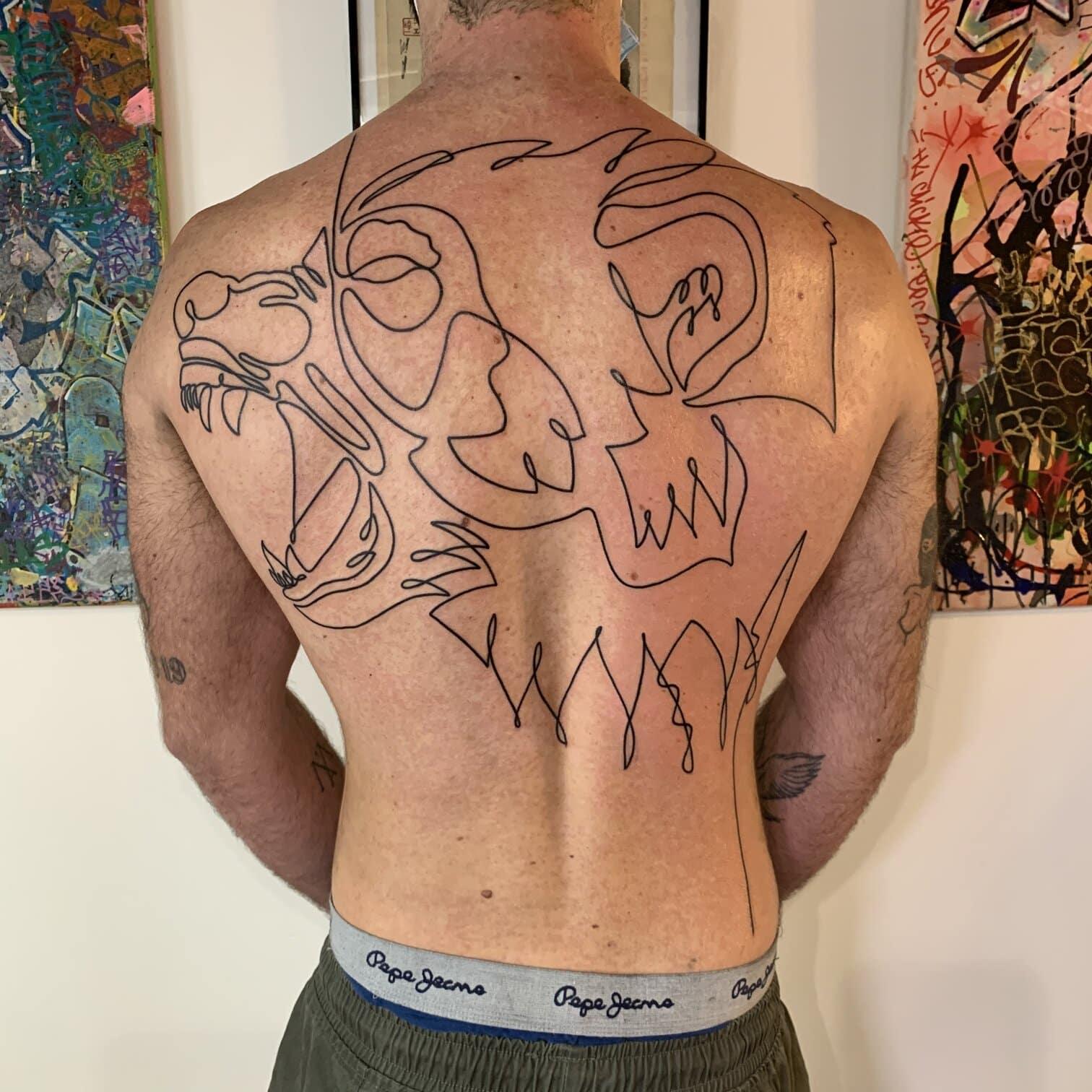 bims-kaizoku-tattoo-artist-oneline-monkey-back