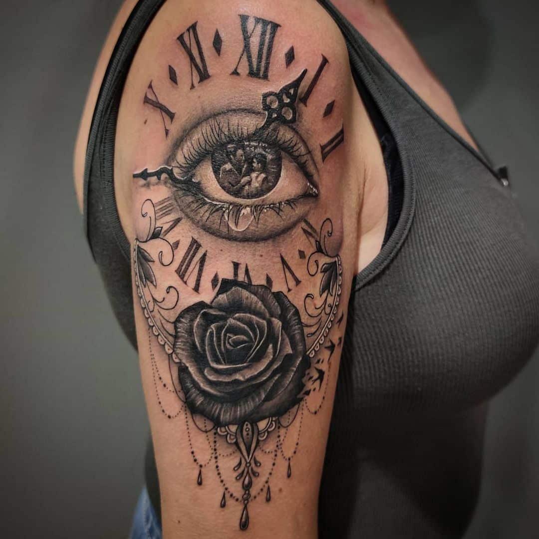 tattoo-ideas-for-women-eye-clock-rose-black-ink