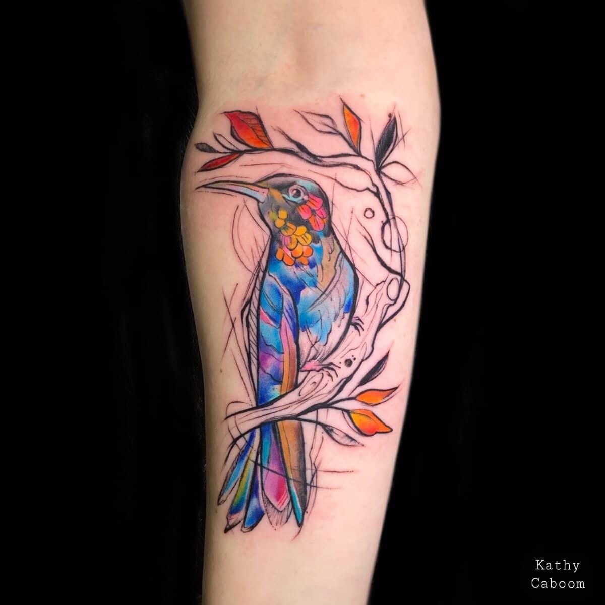 kathycaboom-tattoo-artist-hummingbird-watercolor