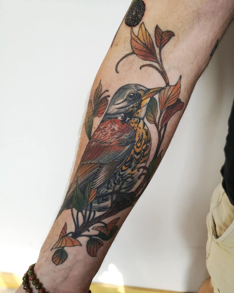 lucy o connell tattoo artist bird arm brown