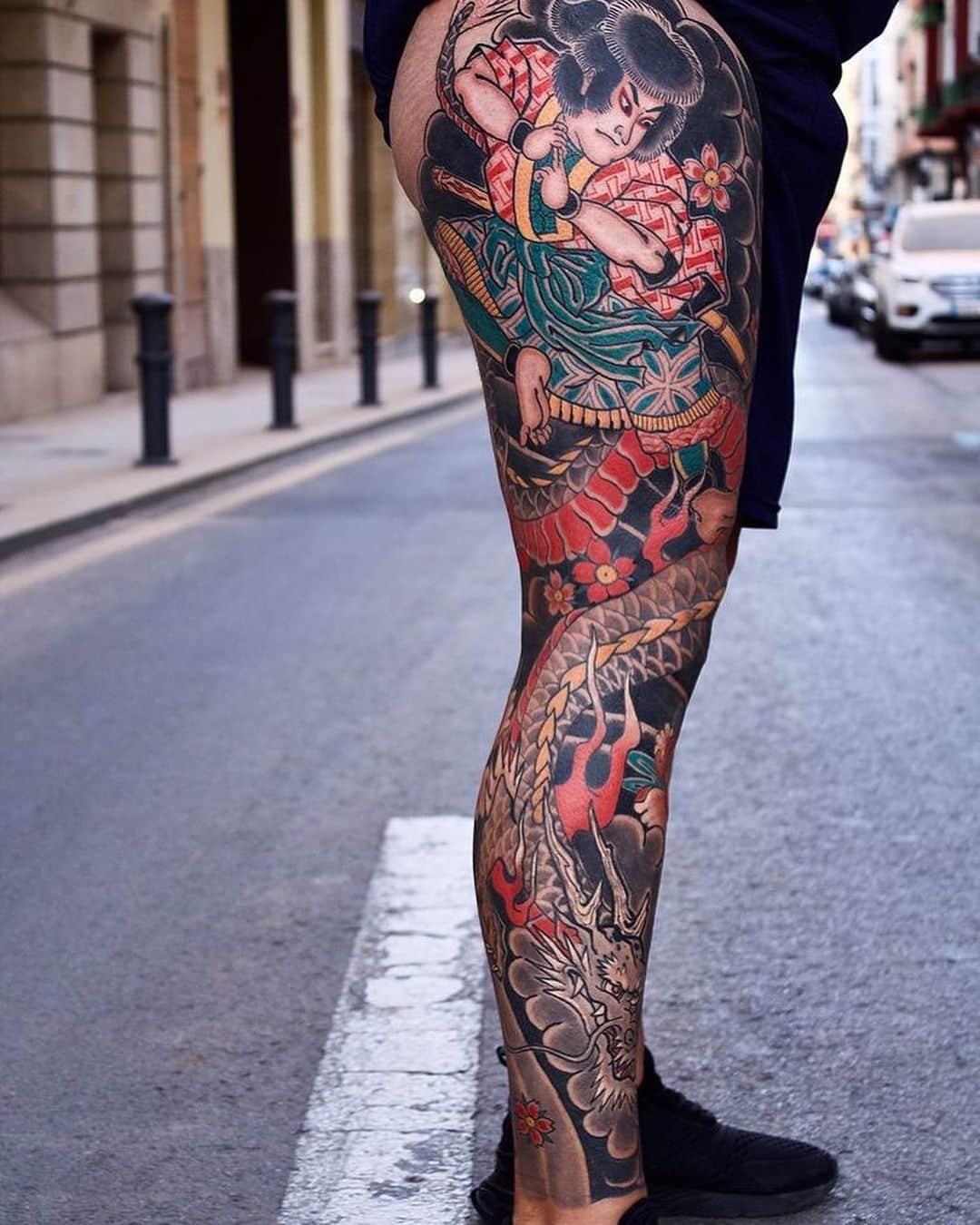 japanese leg sleeve colorfull samurai