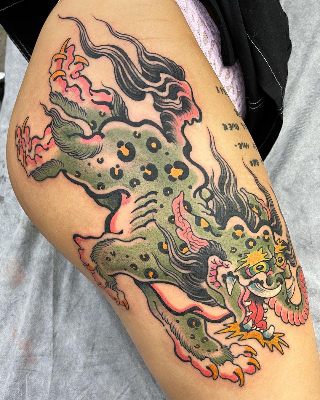 japanese-tattoo-baku-spirit-green-ink