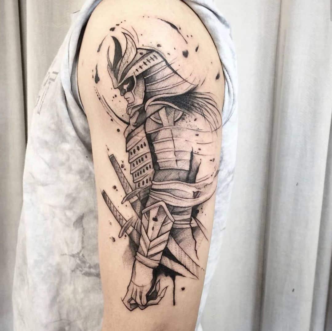 japanese tattoo samurai black