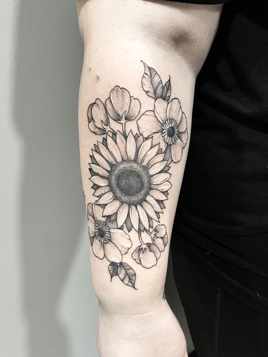 jordan smith tattoo artist sunflowers black and grey