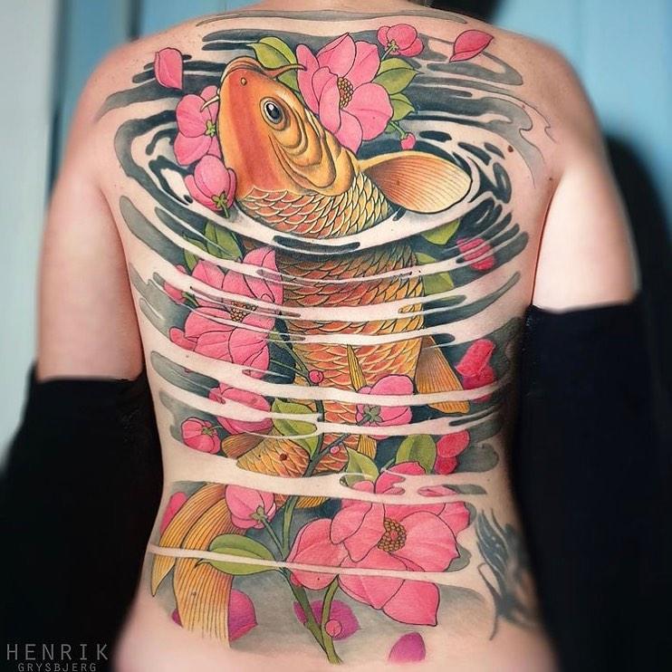 koi fish all back color japan tattoo