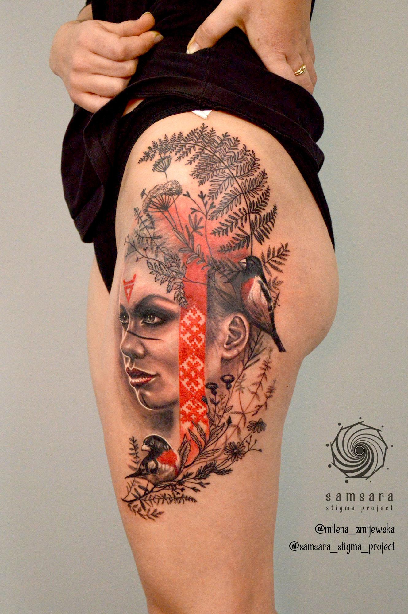 milena zmijewska tattoo artist realistic woman portrait leg