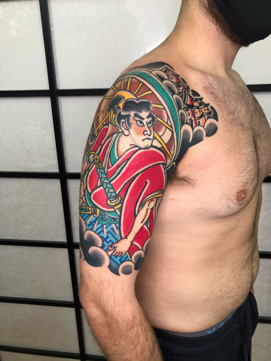 paolo esse tattoo artist shoulder color japanese tattoo