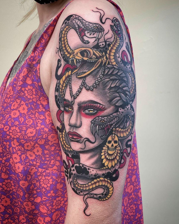 miss rie newport tattoo artist portrait color woman