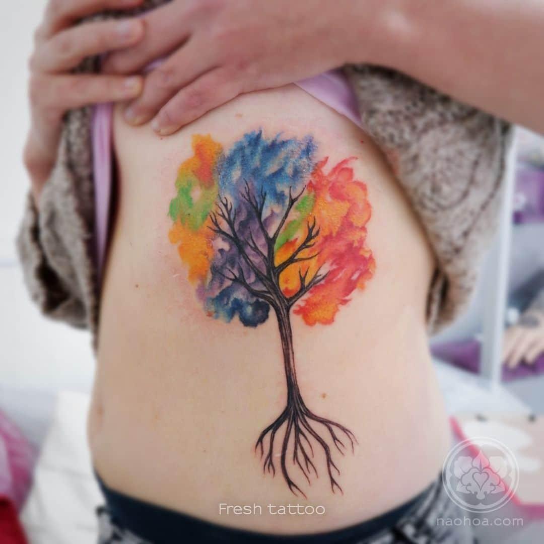 naomi hoang tattoo artist cardiff tree watercolor