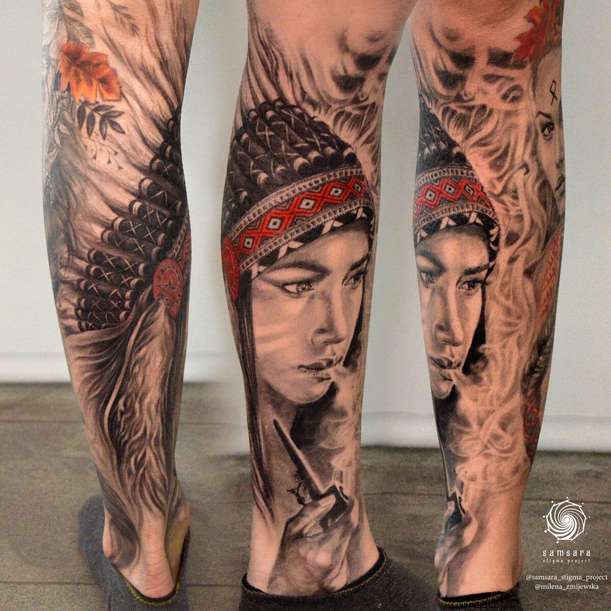 milena-zmijewska-tattoo-artist-indian-girl