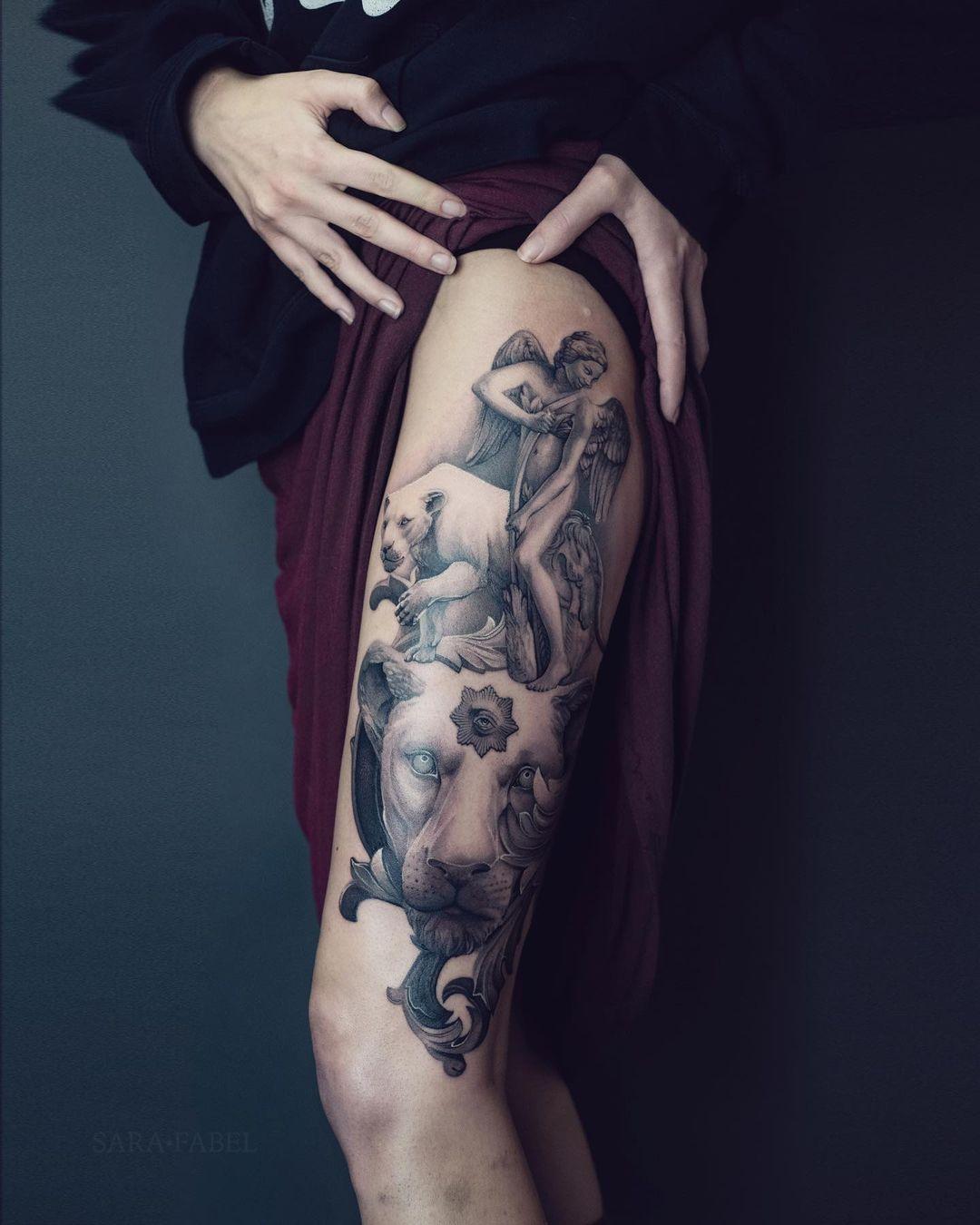 sara fabel tattoo artist lions leg