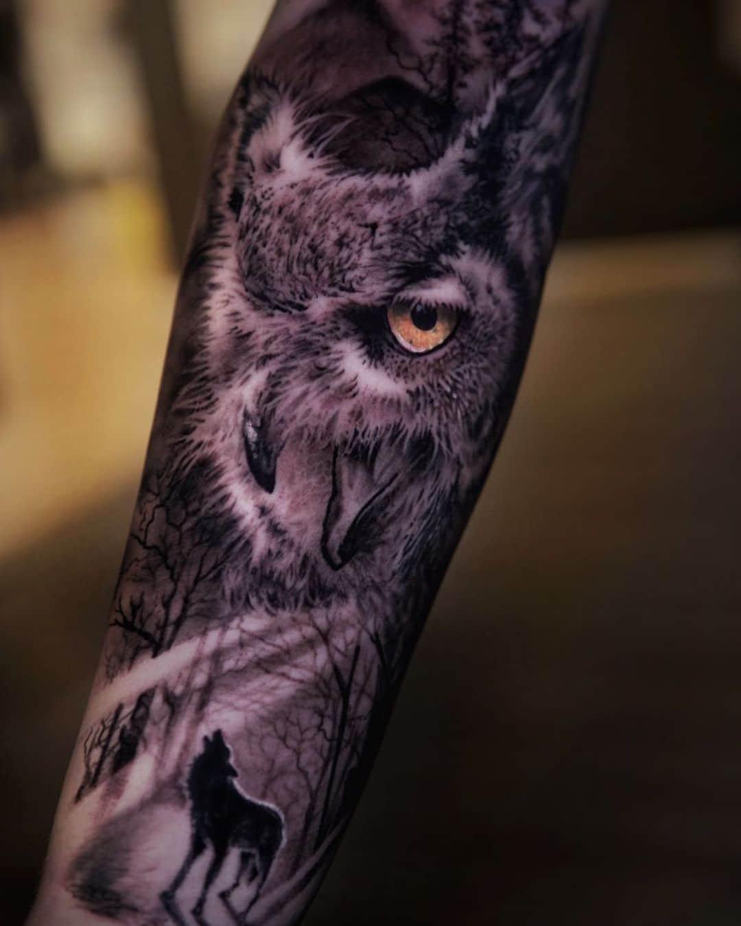 rafael-perez-owl-tattoo-hyper-realistic-color-tattoo